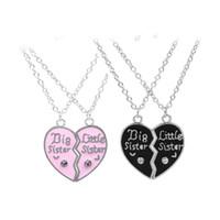 Wholesale Wholesales Best Friends Necklaces - Letter Big Sister Little Sister Broken Heart Necklaces Crystal Pink Black Love Heart Pendants Best Sister Friend Jewelry for Daughter 162124