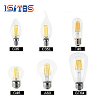 Wholesale E27 Cool White 4w - Dimmable led bulbs Filament bulb 4w 8w 12w 16w High Power Glass globe bulb 110V 220V 240V Retro led Edison lamp candle lightS