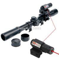 Wholesale Telescope For Gun - 4x20 Air Gun Optics Scope Riflescope Telescope Red Dot Laser Sight 20mm Mount For 22 Caliber Rifles Airsoft Guns Free Shipping