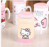 ingrosso ciao ciao gattino-Wholesale- Kawaii Cartoon 300ML Hello Kitty Doraemon tazza da caffè in ceramica con coperchio cucchiaio