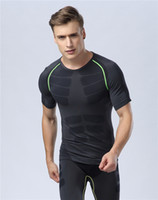 Wholesale Knit Striped Shirt - Tight suit men's sports, comfortable, quick-drying breathable running instructor suit, Europe and the United States men's fitness T-shirt sh