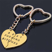 Wholesale metal letters zinc resale online - Best Bitches Keychain Letter Best Friends BFF Lovers Engraved Heart Key Chain Charms Key Rings Gadget