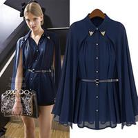 Wholesale Ladies Navy Blouses - vestidos de fiesta Womens Chiffon Cloak Blouse Shirts Tops Elegant Navy Blue Beige Chiffon Cloak Sunscreen Tops Ladies Fashion