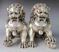 Wholesale Metal Lion Statue - Pair(2 piece ) 6inch Silver@ Guardian Lion Foo Fu Dog Statue