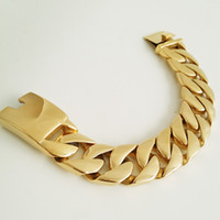 Wholesale Customized Stainless Bracelets - Customize Size 21mm Gold Tone Curb Cuabn 316L Stainless Steel Bracelet Huge Heavy Mens Chain Bracelet Wholesale Gift