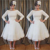 Wholesale Cheap Vintage Tea Length Dresses - Plus Size Tea Length Lace and Chiffon Wedding Dresses Cheap A Line Beach Bridal Gowns with 3 4 Long Sleeves Elegant Custom Made