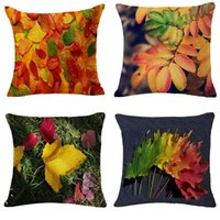 Wholesale lighted fall decorations - Fall Pillow Cushion Cover Home Furnishing Sofa Decoration Pillowslip For Many Styles Cotton Linen Deciduous Pillowcase 13 5gf C R