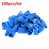 rede de tomada venda por atacado-Atacado-100pcs Azul RJ45 Conector CAT5E CAT6 RJ45 Plug Cap Rede Ethernet Cabo de alívio de tensão de inicialização RJ-45 plugues soquete de inicialização HY202 * 100