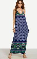 Wholesale oversize black dress - 2017 Summer Bohemia Women Oversize Maxi Dress V-neck Spaghetti Strap Boho Print Floral Loose Beach Long Vest Dresses