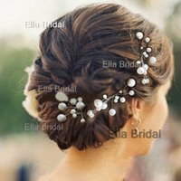 Wholesale Elegant Bridal Headpieces - Elegant New Bridal Hair Accessories Flowers Beads Bride Hair Pearl Pins Comb Wedding Dresses Accessory Charming Headpieces 6 Pieces a Lot