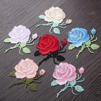 Wholesale Embroidered Wedding Jackets - 6Designs Rose Flowers Embroidered Sewing Patches Iron on Sticker Patch For Clothes Clothing Jacket Applique DIY Wedding Dress Decorations
