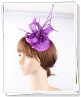 Wholesale Orange Wedding Hats - Free shipping 16 colors 2017 sinamay fascinators has for wedding hats bridal hair accessories cocktail hats party headwears 6 pcs lot OF1546
