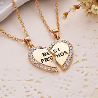 Wholesale Necklace Two One - Fashion Friend Forever Series Two-color Gold And Sterling silver Plated Pendant Necklace One Half And A Half Girlfriend Women Men Couple
