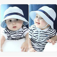 Wholesale Boy Beach Bucket Hats - 1-3Y Baby Bucket Hat Toddler Infant Cotton Sun Cap Summer Hats Outdoor Baby Girl Sun Beach Bucket Hats 3 Colors Boutique Clothing 270