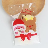 100pcs 10x15 + 3cm Oso Santa Claus Merry Christmas Panadería Cookie Candy Dulce Biscuit Regalo Jabón Favor Cello Plastic Party Bolso