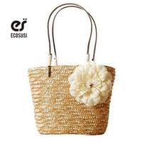 Wholesale Straw Handbags Wholesale - Wholesale-ecosusi 2016 Summer Flower Pattern Women Straw Bag Dual Band Handbag Lady Woven Beach Bag Girl Shoulder Bag