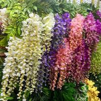 ingrosso artificial flowers free shipping-Decorazione di nozze di glicine di 110cm 6 colori ghirlande decorative artificiali dei fiori per la casa di nozze del partito per trasporto libero