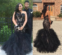 Wholesale Black Layered Tulle Prom Dress - Gorgeous Black Applqiued Lace Long Prom Dresses 2017 Strapless Layered Organza Evening Gowns Long Satin And Tulle Formal Party Dress