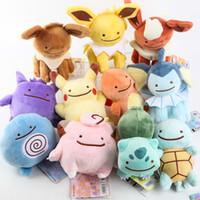 Wholesale Pokemon Raichu - Poke Dolls Pikachu Ditto Metamon Pikachu Charmander Squirtle Bulbasaur Eevee Raichu Jolteon Gengar Plush Toys (Size : 15-18cm)