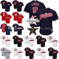 Wholesale Gold 12 - Men's Cleveland Indians 12 Francisco Lindor 30 Joe Carter 24 Andrew Miller 10 Edwin Encarnacion Cool Base baseball Jerseys Throwback Mesh