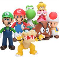 Wholesale Mario Bros Resins - 8-15cm Super Mario Bros Bowser Koopa Yoshi Mario Luigi Wario goomba Peach PVC Action Figure Toys Model Dolls