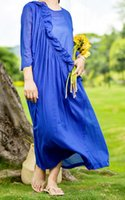 Wholesale 2017 Women s Summer Cotton Blend Ruffle Dress Solid Color Blue Sleeve Elegant O neck Customized Service Vestidos