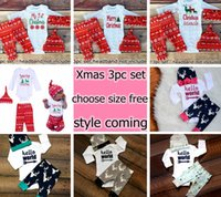 Wholesale Zebra Baby Hat - 2017 New Boys Girls Xmas Hello World Letter Romper tops & baby ins Pants & infant white caps hats 3pcs Baby Outfits Set 0-2year