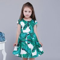 Wholesale Banana Boats - Lolita Style Dress for Baby Girls Cap Sleeve Knee Length Printing Banana Leaf European Princess Dress