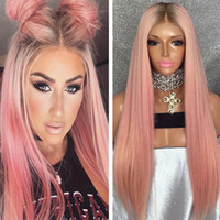 Wholesale Hair Wig Pink - Dark Roots Human Hair Wig 24inch Silky Straight Brazilian Remy Hair Pink Full Lace Wig Free Shipping