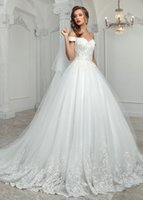 Ball Gowns online - Glamorous 2017 Cheap Lace Ball Gown Wedding Dresses With Sleeves Off-the-shoulder Neck Lace-up Back Princess Tulle Garden Wedding Gowns