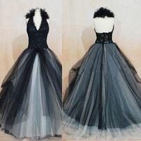 Wholesale Shabby Flower Applique - Vintage Black Wedding Dresses Angelina Julie Princess Halter Lace Appliques Bridal Gown Tulle Birdal Gown Shabby