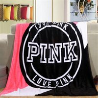 Wholesale Wholesale Woven Fabric - Fashion VS Pink Letter Blanket Soft Coral Velvet Rug Beach Towel Blankets Air conditioning Rugs Comfortable Carpet 130*150cm