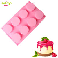 Wholesale Handmade 3d Decorations - Delidge 1 pc 8 Holes Cupcake Mold Silicone DIY Round Shape Mini Muffin Cake Mold 3D Handmade Jelly Pudding Decoration Tool