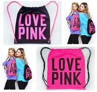 Wholesale Drawstring Canvas Backpack - Tote Backpacks Bags Women Pink Drawstring Bag Secret Victoria PINK School Bags Pink Letter Storage Fashion Canvas VS Handbags Shopping Bag