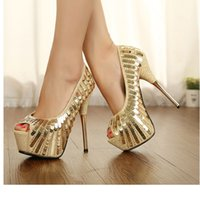 Wholesale 14 Cm Heels - Autumn New fish mouth 14 cm single shoes high with sequins shoes nightclub golden wedding bride shoes