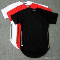 Wholesale Tyga T Shirts - Fashion Men T Shirt Side Copper Zipper Cotton T Shirt Justin Bieber Fear Of God Rock Star Swag Tyga Tops free shipping