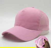 Wholesale Blue Pony Tail - 2017 summer has an extra hole for the pony tail Woman Baseball Caps Women ponytail baseball hat Breathable Summer Mesh Cap Polo Visor Cap