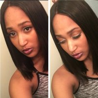 Short Bob Lace Wigs Silky Straight Color 1b Europeu Hair Natural Hairline Preço barato Full Lace Wigs Frete grátis