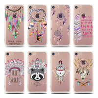 Coque barato del silicón del precio para Iphone 7 4.7 Fundas Pluma floral colorida de la pluma del ciruelo Pluma Clear Phone Cases Soft Tpu Back Cover
