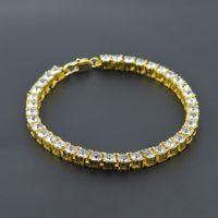 Wholesale Mens Titanium Chain Link Bracelets - Gold Palted Bling Bling Hip Hop Bracelet 1 Row Iced Out Cz Bracelet Top Fashion Mens Jewelry Y#101