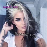 farbe perücke highlights groihandel-Lange glatte glatte Haare markieren blonde dunkle schwarze Farbe Perücke synthetische hitzebeständige Lace Front Perücken für Mode schwarz / weiß Dame