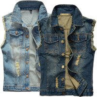 Wholesale Cotton Vest Jacket - Hot Mens Distressed Denim Waistcoat Blue Sleeveless Jeans Denim Jacket Casual Vests For Men Gilet Biker Homme