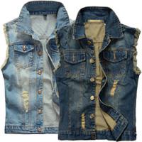 erkekler yelek kot toptan satış-Sıcak Erkek Sıkıntılı Denim Yelek Mavi Kolsuz Jeans Denim Ceket Erkekler Için Rahat Yelekler Jile Biker Homme