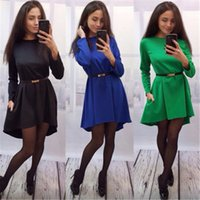 Wholesale Wholesale Dresses For Sale - Spring And Summer New Solid Color Stitching A Word Dress Fashion Dress Clothes For Women Clothes Sale