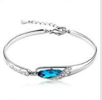 pulseira de diamante de safira azul venda por atacado-Luxo Sapphire Pulseiras Jóias Novo Estilo Encantos Azul Áustria Pulseira De Diamante Pulseira para Meninas 925 Sterling Silver Mão Jóias