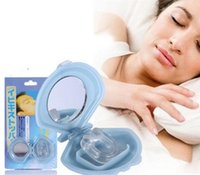 Wholesale Silicon Stop Snoring Nose - Soft Silicon Anti-Snoring Anti Snore Free Nose Snoring Stop Stopper Clip with mirrior Sleeping aid Device clip dhl ship