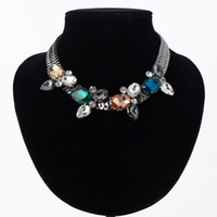 Wholesale chunky chain necklace silver choker - YFJEWE Trendy Women choker collar big chunky crystal bead necklaces pendants statement necklace women's party wedding gift #N014