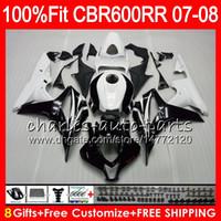 Wholesale Honda Rr Fairings - 8Gifts 23Colors Injection For HONDA CBR 600 RR CBR600RR 07 08 44HM1 CBR 600RR F5 07 08 CBR600F5 CBR600 RR 2007 2008 Fairing kit Black white