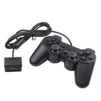 Wholesale Double Vibration Game Controller - DZ0102 Wired Double vibration Shock Controller Gamepad Compatible for Playstation 2 PS2 Console Video Games Black