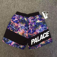 Wholesale Rock Tracks - 2017 new summer Korean High Quality PALACE wild rock track men Hip-Hop shorts Skateboards starry sky flowers color Sports leisure shorts